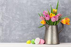 Обои Праздники Пасха Тюльпаны Кувшин Цветы