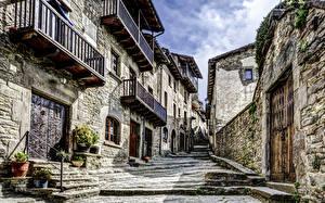 Картинки Дома Испания Улица Каменные Лестница catalonia