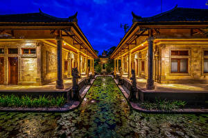 Картинки Индонезия Здания Пруд Скульптуры HDRI Дизайн Ночные Bali Города