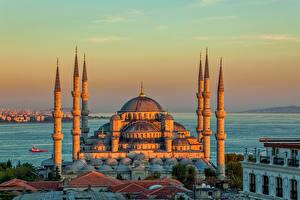 Фотография Стамбул Турция Храм Вечер Мечеть Голубая мечеть Крыша город