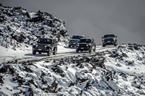 Обои Jeep Черный Снег Автомобили