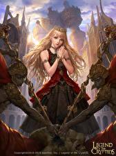 Фотографии Legend of the Cryptids Воители Корона Блондинка Игры Девушки Фэнтези