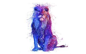 Картинка Львы Рисованные Белый фон Животные