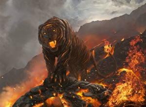 Обои Волшебные животные Тигры Огонь Лава Фэнтези картинки
