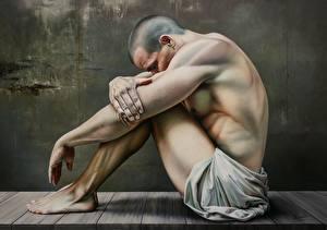 Обои Мужчины Картина Сидит Лысый Ноги Руки Christiane Vleugels