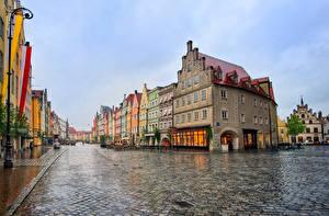 Фотографии Мюнхен Германия Здания Вечер Дождь Улица