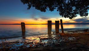 Фотографии Новая Зеландия Рассветы и закаты Побережье