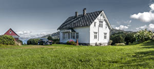 Картинка Норвегия Дома Кусты Трава Дизайн Litla Hordaland