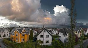 Фото Норвегия Дома Облака Улица Stavanger Rogaland Города
