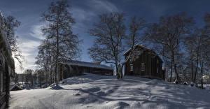Картинки Норвегия Дома Зима Вечер Снег Деревья Nord-Trondelag