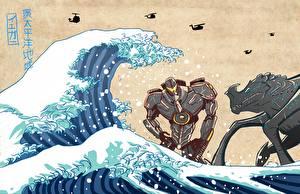Обои Тихоокеанский рубеж Монстры Волны Робот