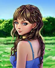 Фотография Рисованные Шатенка Лицо Взгляд Девушки