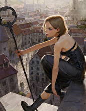 Фотография Рисованные Здания Сидя С посохом Шатенка молодая женщина Фэнтези