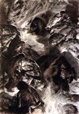 Фотография Живопись Древние животные Zdenek Burian Черно белое Hunting in the dragons lair