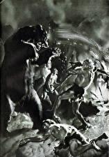 Картинки Картина Древние животные Зденек Буриан Черно белое Cave bear attack