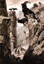Фотографии Живопись Парнокопытные Zdenek Burian Черно белое Скала Прыжок Hunting the siberian ibex