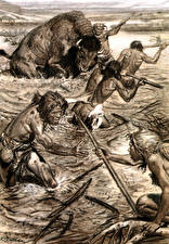 Картинки Живопись Zdenek Burian Бизон Черно белое Hunting the bison