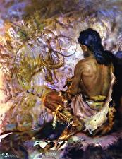 Обои Живопись Zdenek Burian Мужчины Prehistoric artist