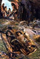 Обои Живопись Zdenek Burian The childrens grave in menton Еда картинки