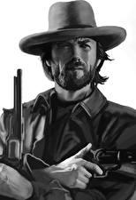 Картинка Пистолеты Clint Eastwood Рисованные Мужчины Черно белое Шляпа Борода Знаменитости