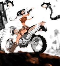 Картинка Пистолеты Мотоциклист Стрельба Фантастика