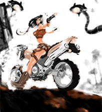 Картинка Пистолеты Мотоциклист Выстрел Фэнтези