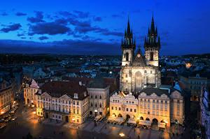 Фотографии Прага Чехия Дома Вечер Небо Улица Уличные фонари