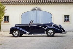Фото Ретро Синий Металлик Сбоку Кабриолет 1938-52 Salmson S4-61 Cabriolet Автомобили