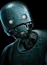 Картинки Изгой-один. Звёздные войны: Истории Робот Черный фон Голова K-2SO Фильмы