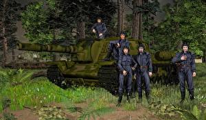 Обои САУ Солдаты Русские SU-152 3D Графика