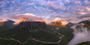 Фотографии Шотландия Горы Небо Пейзаж Мох Облака Glen Coe Природа
