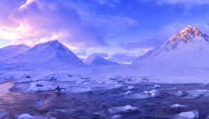 Обои Шотландия Горы Зимние Небо Пейзаж Снеге Ручей Glen Coe Природа