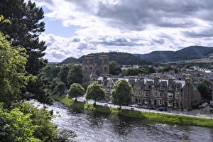 Фотографии Шотландия Храмы Реки Небо Собор Inverness Cathedral Города