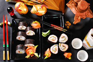 Картинки Морепродукты Суси Рыба Продукты питания Еда