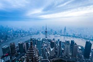 Фотографии Шанхай Китай Дома Реки Небоскребы Мегаполис Сверху