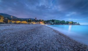 Фото Сицилия Италия Побережье Вечер Камни Города