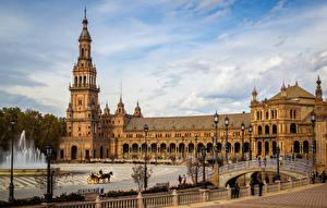 Фото Испания Фонтаны Мосты Дворец Городская площадь Уличные фонари Plaza de Espana Sevilla Города