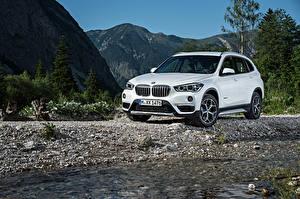 Картинки Камень BMW Белые 2015 xLine xDrive F48 Автомобили