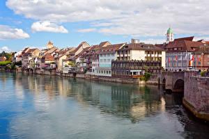 Картинка Швейцария Дома Реки Побережье Rheinfelden Города
