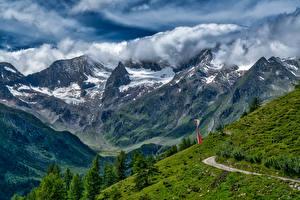 Картинка Швейцария Горы Пейзаж Альпы Облака Природа