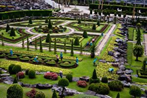 Картинки Таиланд Сады Камни Ландшафт Газон Кусты Дизайн Nong Nooch Tropical Botanical Garden Природа