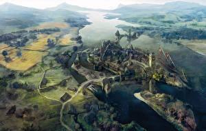 Картинки Ведьмак 3: Дикая Охота Речка Поселок Сверху novigrad компьютерная игра Природа