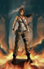 Картинка Tomb Raider 2013 Пламя Лара Крофт Девушки