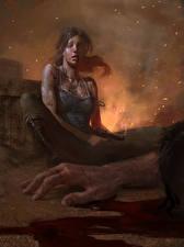 Фото Tomb Raider 2013 Пистолеты Кровь Лара Крофт Руки Игры Девушки