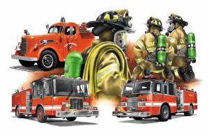 Фото Рисованные Пожарный автомобиль Противогаз Firefighters Автомобили