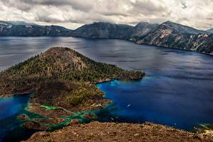 Картинка США Парки Озеро Гора Пейзаж Crater Lake national Park Oregon