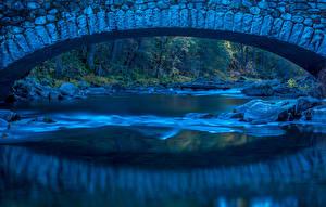 Фото Штаты Парки Речка Мосты Камни Йосемити
