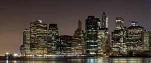 Фотография США Небоскребы Манхэттен Нью-Йорк Ночные Города