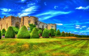 Картинка Великобритания Замки Небо HDR Кусты Дизайн Chirk Castle Wales Города