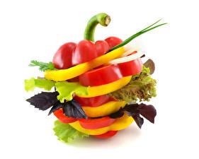 Фото Овощи Перец Белый фон Дизайна Нарезанные продукты Еда